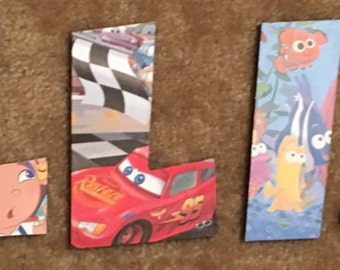 6 Inch Homemade Letters With Disney and Pixar Characters