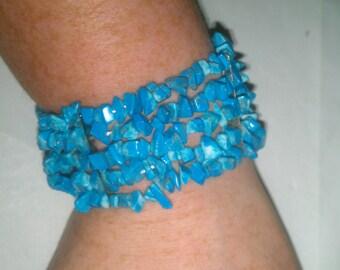 Vintage Turquoise Stone Stretch Bracelet