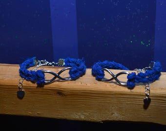 Textile Infinity Friendship Bracelet, Blue