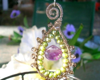 LA MADELEINE - Sterling Fancy Statement Pendant - Labradorite, Fluorite, Pearls