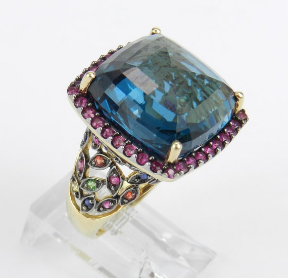 14K Yellow Gold Cushion Cut London Blue Topaz Ruby Multi Color Sapphire Halo Engagement Ring