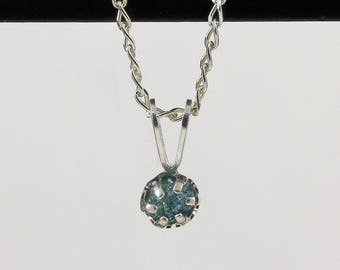 4mm Blue Raw Diamond Pendant Necklace - Sterling Silver Necklace with Natural Conflict Free Diamond - Rare Blue Diamond