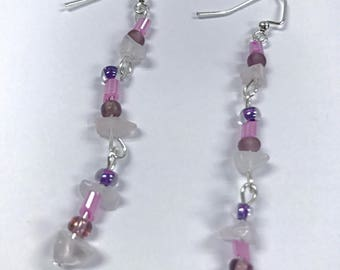 Purple chip dangle earrings