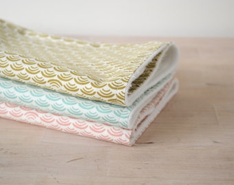 Organic Burp Cloths Set of 3 in Smile & Wave Pastel Colors
