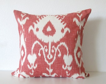 Bristow Cranberry 18x18 linen ikat red ivory decorative pillow cover