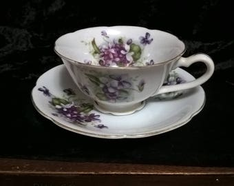Cup & Saucer Violets In The Snow Japan