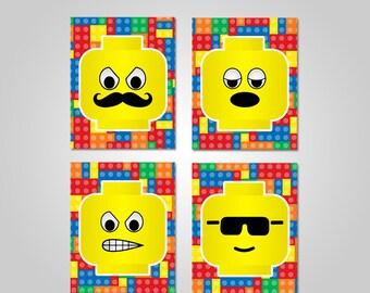 Lego Bedroom Wall Art - Lego Printable Wall Decor - Lego Wall Art - Printable Wall Art - Instant Download