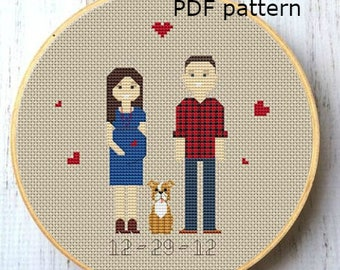 Baby announcement Cross Stitch Pattern Mother day gift PDF Family portrait custom Gift for Mom Embroidery pattern Pixel people portrait