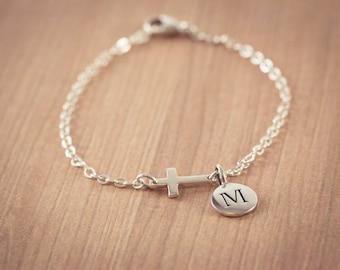 Small Sideways Cross Initial bracelet, Sterling Silver Cross Bracelet, Cross Bracelet, Petite Cross, Religious Jewelry, Celebrity Inspired