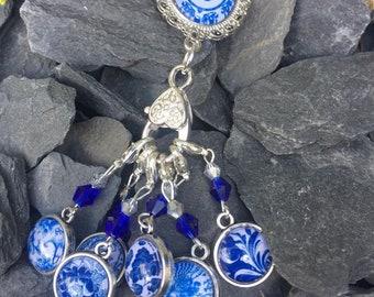 Blue China Stitch Marker & Holder Brooch