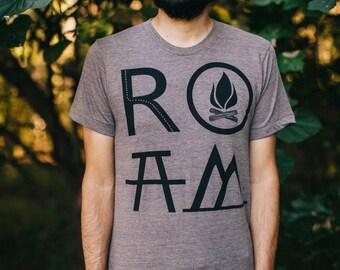 Mens Wanderlust Hiking Camping Tshirt Clothing Gift for Him, ROAM Mountains Road Trip Adventure Shirt Graphic Tee, BlackbirdSupply