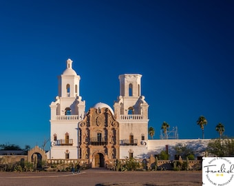 """Mission San Xavier """"Mission Morning"""" Fine Art Photograph (9.5"""" x 13.25"""" print on 14"""" x 18"""" archival board) Limited Edition Signed"""