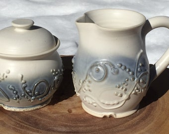 Blue and White Slip Trailed Cream and Sugar Set