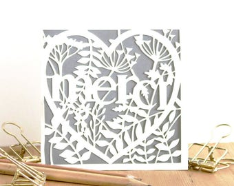 Thank you papercut card, French text card, Merci card, Thank you card, Miniature card, Thank you card pack, Merci cards, Gratitude card