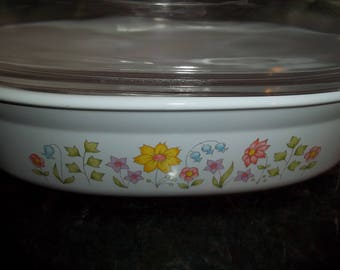 Corning Ware 1 1/2Quart Meadow Casserole Dish P-1 1/2-B with lid