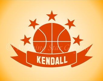 Vinyl Decal BASKETBALL Personalized with NAME - Sports Collegiate Wall Art Decal Sticker SP-110