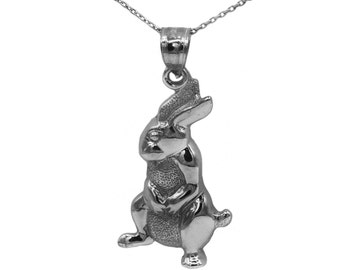925 Black Sterling Silver Rabbit Necklace