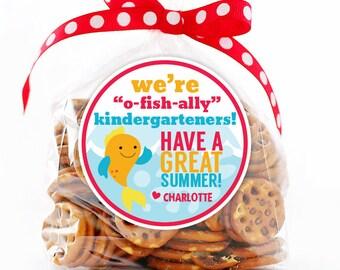 Personalized Stickers O-Fish-Ally Kindergarteners Circle Stickers, Fish Last Day of Pre-School Kintergarden Party, Kindergarten Graduation