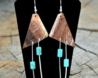Zebra patterned copper earrings with sterling silver and howlite beads.