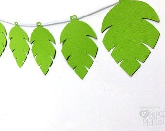 Green Jungle Leaf Party Banner. Birthday Party, Baby shower. First birthday, photo prop, party decor. Jungle, safari, dinosaur, monkey party