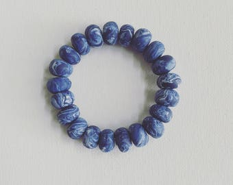 Kate's Blue and White Clay Bracelet