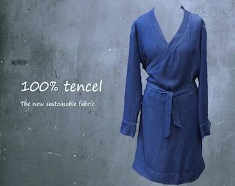 tencel wrap tunic dress, tencel tunic, tencel wrap dress