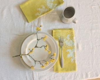 chartreuse yellow scrolls batik dinner napkins