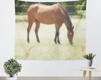 Horse Tapestry - Rustic Tapestry - Wall Hanging - Horse Wall Tapestry - Brown Horse Tapestry - Rural Tapestry - Country Art - Dorm Tapestry