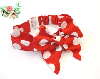 Red and White Polka Dot Bow Headband (Sizes Newborn - Adult) oversized bow, pin up headwrap, baby shower gift, polka dot headband, birthday