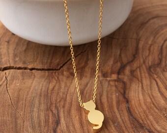 Cat Bracelet - Tiny Gold matt Kitty Bracelet - Everyday bracelet - Chain Bracelet - Cat Charm Bracelet