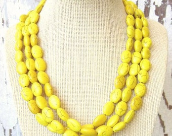 Yellow Multi Strand Necklace.Chunky Howlite Yellow Necklace.Multi Strand Yellow Jewelry Beaded Necklace.Yellow Bridesmaids Jewelry.Gold