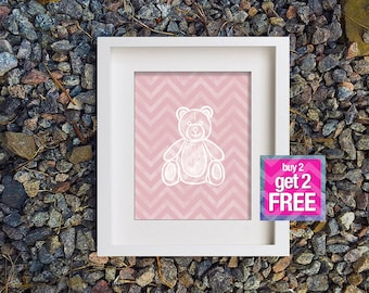 Teddy Bear Print, Printable Art, digital art,  Modern Wall Art, Wall Decor, Digital Download, Teddy bear, digital painting, kids room decor
