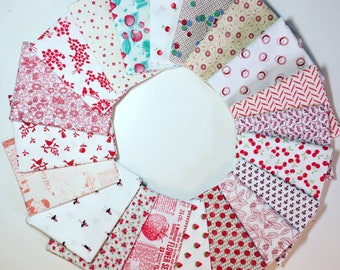 20 Redwork Fat Quarter Bundle, Vintage Retro