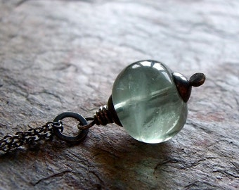 Fluorite Sterling Silver Necklace Blue Green Aqua Stone