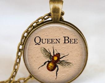 Queen bee antique bronze necklace ,  queen bee pendant , queen bee jewelry, insect art pendant , entomology, science pendant
