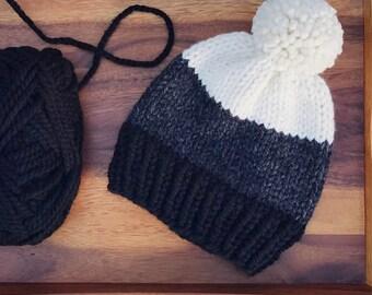Color Block Knit Hat // Neutrals