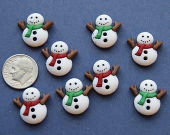 8 Snowmen Buttons, Christmas Buttons, 2 Hole Sew through Embellishments (xx 2)