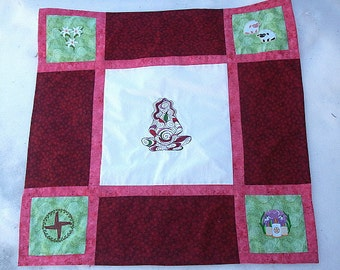 Imbolc - Renewal - Quilted and Machine Embroidered Altar Cloth