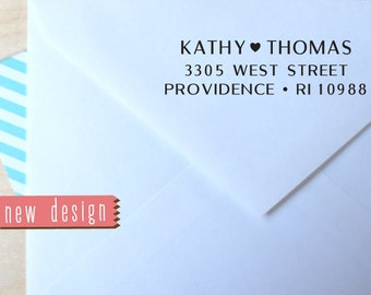 Custom Pre Inked STAMP from USA, Custom Address Stamp, Wedding Stamp, rsvp Stamp, Return Address Stamp with proof, Stamp with heart b5-101