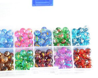 1 box of 200 glass beads, 8mm to 10 compartments color mix (20 of each color)