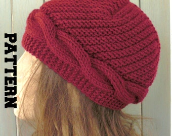 Knitting pattern hat instant download knit hat pattern- women hat digital hat knitting pattern pdf - cable knit hat pattern