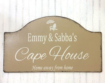 Custom Cape House sign, beach decor, Cape Cod, Cape May personalized sign, vacation house plaque, custom cottage sign
