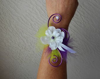 Bracelet flowers for bride or witness - white purple and lime green