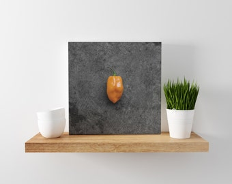 habanero // food photography print // canvas print // kitchen wall art // dining room wall art // rustic wall art // peppers