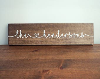 Wooden Sign with Personalized Last Name