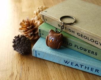 By the Shed Owl Bird Keyring - Brown - Birds, Barn, Eagle, Snowy - Gift, Present - Gardening, Bird Watching, Countryside - Key Chain, Charm