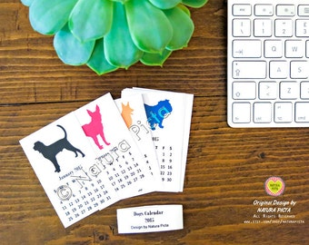 2018 mini desk dogs calendar -Mini calendar 2018-size 2.2x3.5 inch-desk calendar-2018 calendar-dogs calendar-custom calendar-by NATURA PICTA