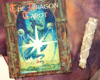 The Dragon Tarot - Deck and Book Kit with Organza Pouch & Mini White Sage Smudge Stick