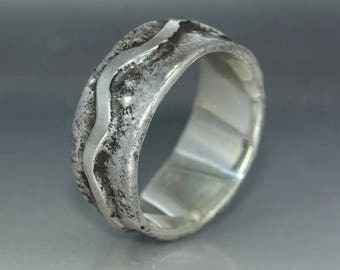 A handmade  Textured Hammered Silver Wedding Band Rustic Organic Mans ring Womans Ring Statement Ring