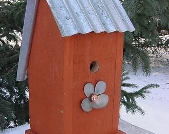 Birdhouse, Outdoor Bird House, Birdhouses, Recycled Birdhouse, Reclaimed Birdhouse, Repurposed Vintage Metal Tin from Barn